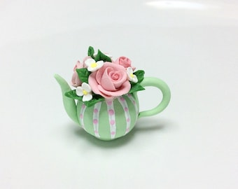 Miniature teapot with rose bouquet for 1:12 scale dollhouse made from polymer clay