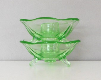 Vintage Pair Green Glass Candleholders Footed Uranium Art Deco Home Decor