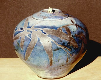 Blue Raku Urn, 6 in. Handmade USA, Copper , Decorative Jar and Crematory Memorial Container for Ashes Mantel Decor Kitchen and Dining Group