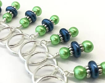 Green & Blue Pearl Snag Free Knitting Stitch Marker Set- Gifts for Knitters- Ships Free