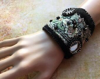 Romantic Gypsy Bracelet - Wrist Wrap - Bohemian Textile Cuff - Felted Bracelet - Festival Wearable Art