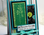 "Thank You Card - 3D Handmade Greeting Card - 4.25 x 5.5"" Stampin Up Thank You With All My Heart Flowers Gratitude Notecard  - OOAK"