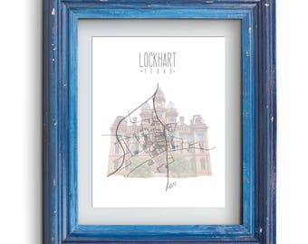 Lockhart Texas Map and Courthouse Print {Digital}