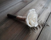 Ships in 5 days ~~~ Rustic Bullet Casing Boutonniere with Sola Flower and Jute