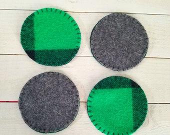Wool Felt Reversible Coasters- Funky Green Plaid
