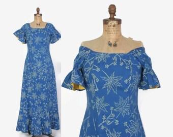 Vintage 50s HAWAIIAN DRESS / 1950s Blue Floral Print Cotton HoloMuu Maxi Dress