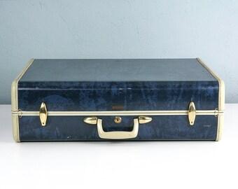 Vintage Large Blue Marble Samsonite Suitcase, Blue Suitcase, Vintage Suitcase, Suitcase Photo Prop, Vintage Samsonite, Stage Props