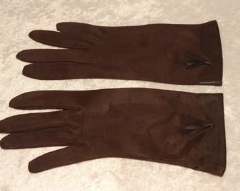 Vintage Brown Nylon Gloves Size Small Tassle Stretch