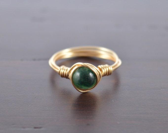 Emerald Wire Ring, Peridot Stone, August Birthstone, August Birthday, Boho Ring, Minimal Ring, Wire Wrapped Jewlery, August Birthday Gift