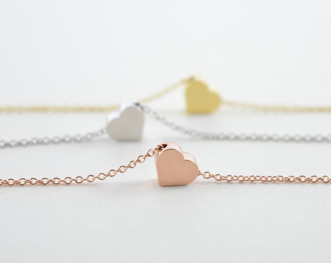 Heart Minimal Charm Necklace, Personalized Initial Necklace, Dainty Necklace, Bridesmaid Gift Monogram Jewelry Silver Gold Rose Gold Heart