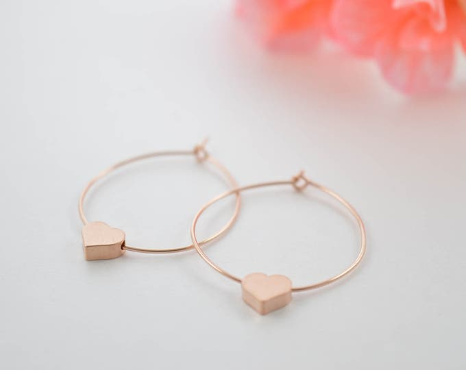 Tiny Heart Hoop Earrings