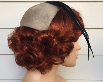 1950s Bandeau Hat Gray Feather By Betmar