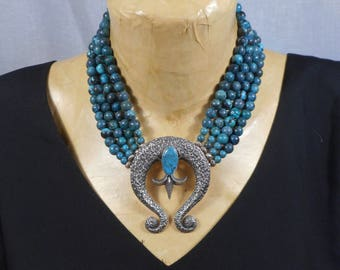 Native American Sand Cast .925 Silver Turquoise Signed Pendent & Blue Turquoise with .950 Silver 4 Strand Neckalce