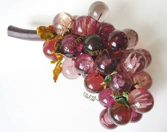 "Large Acrylic Purple Grape Cluster, Vintage Retro 14"""