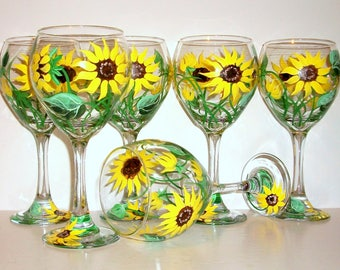 Bridesmaids Gift Wine Glasses Bachelorette Party Wedding Bridal Shower Mother of the Bride Yellow Sunflowers  Set of 6 Hand Painted