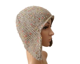 Knit Ear Flap Hat, Hat with Flap Ears, Womens Hat, Winter Hat, Chunky Knit Hat