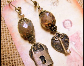 Titanic Old World Edwardian Heart & Key Earrings, Downton Abbey Earrings, Steampunk Earrings, Victorian Lock and Key Earrings, Romantic