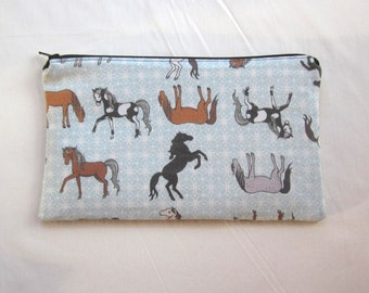 Horses Fabric Zipper Pouch / Pencil Case / Make Up Bag / Gadget Pouch