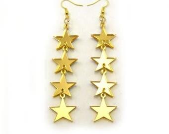 FALLING STARS Statement Earrings in gold - star earrings, laser cut earrings, shooting star, mirror earrings, star jewelry, modern jewelry