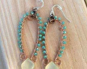 Chalcedony wire wrapped earrings