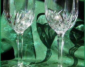 """Waterford """"Brookside"""" Marquis Collection 2 Over-Sized Glasses Crystal Stemware"""