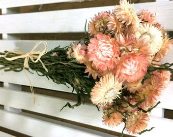 DRIED FLOWERs BOUQUET Lovely Blush Pink color Strawflower Dried bouquet gift Wedding bouquet birthday bouquet flower gift party shabby prim