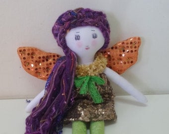 "Autumn Fairy Doll, Cloth Doll, Fabric Doll, Girl Doll, 17"" Doll, Rag Doll, Heirloom Doll, Play Doll, Soft Toy, Orange"