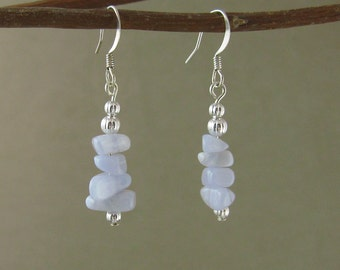 SALE! Calm & Communication earrings with Blue Lace Agate (128)