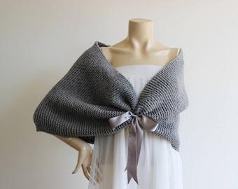 Gray Bridal Capelet / Wedding Wrap Shrug Bolero/Hand Knit  Shawl/ Scarf