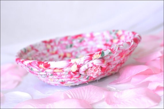 Shabby Chic Floral Basket, Handmade Pink Bowl, Mother's Day Candy Dish, Makeup Organizer, Cute Desk Accessory, English Gift Basket