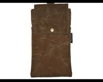 Tan Waxed Canvas Zipper Cell Phone Holder, Wallet, iPhone Case, Samsung Case, Droid, Phone Case