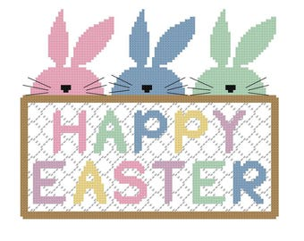 Bunny Easter Cross Stitch Pattern - PDF File - Instant Download - X Stitch Pattern, Easter Pattern, Easy Cross Stitch