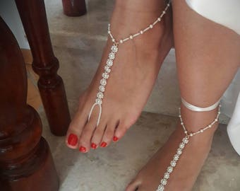 wedding barefoot sandals bridal Accessory jewelry white sandals summer jewelry 1 pair