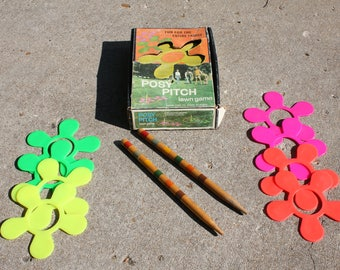 Vintage Posy Pitch Lawn Game 1970's Glamping RV Camping Picnic Beach Backyard Party Outdoor Game