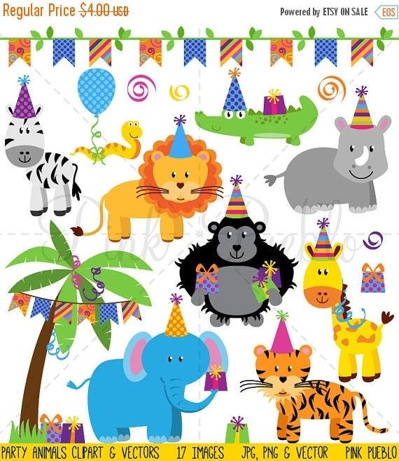 HALLOWEEN SALE Birthday Party Animals Clipart Clip by ...