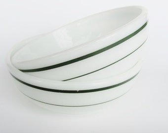 "Pyrex By Corning Bowls Green Band 1950s ""Double Tough"" and 705-31 B Restaurant Ware Cereal Soup 15 Ounce Set of 2"