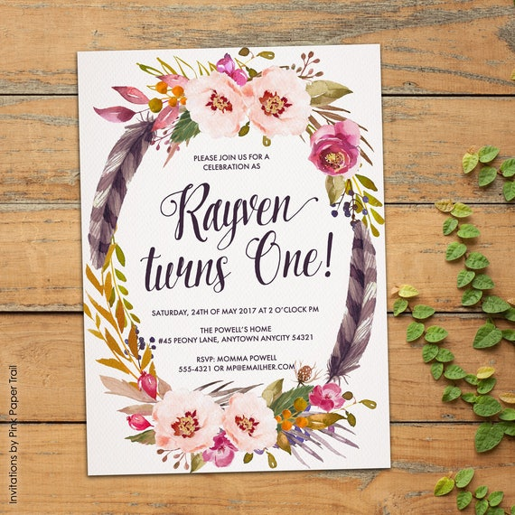 Boho First Birthday Party Invitation Rustic Bohemian Spring – Spring or Summer Theme Invitation Cards