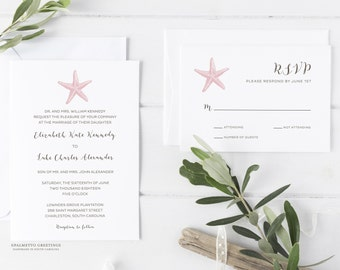 Starfish Beach Wedding Invitations, Coastal Wedding Invitations, Destination Beach Wedding Invites with Custom Colors by Palmetto Greetings