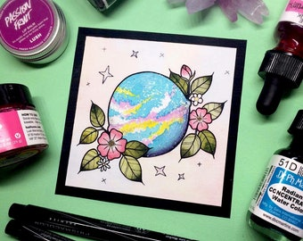 Glittery Galaxy Bath Bomb Tattoo Flash Mini Print by Michelle Kent