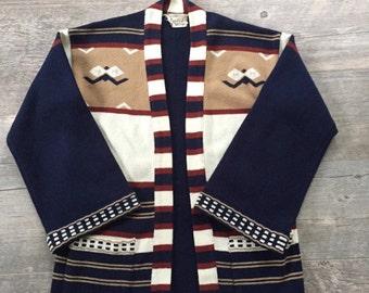 SALE Vintage 1960s 1970s Navajo Southwest Hippie Draped BoHo Cardigan Sweater