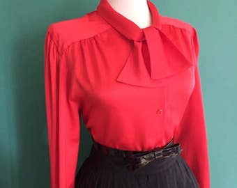 Flirty 1950s 1960s Red Button Down Long Sleeve Blouse w Ascot Tie Neck