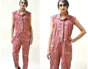 ON SALE Vintage Diane Von Furstenberg Jumpsuit Size Small Medium Tropical Tribal Print // 80s Vintage Pink Jumpsuit Pantsuit size Small By D