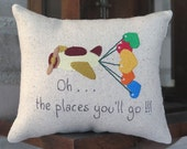 Oh the places you'll go  embroiderd pillow