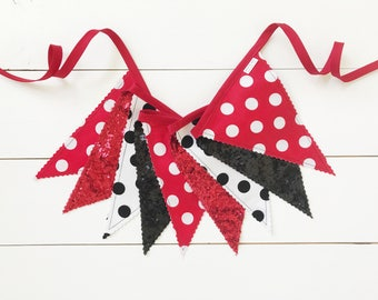 SALE!! - Lady Bug Fabric Pennant Banner, Bunting, Garland