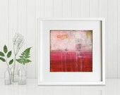 "Abstract Print: Mixed Media print, Contemporary Art print, Abstract Art, fuchsia pink red print 8""x8"" or 12""x12"" Modern Art Print, ""Crimson"""