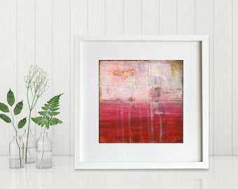 "Abstract Print: Mixed Media print, Contemporary Art print, Abstract Art, fuchsia pink red print 8""x8"" or 12""x12"" Modern Art Print, ""Crimson"""