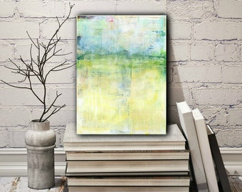 "9x12 Abstract Painting, Abstract Art, Original Art, Abstract Landscape Painting, Impressionist Contemporary Art, Blue Green Yellow, ""Spring"""
