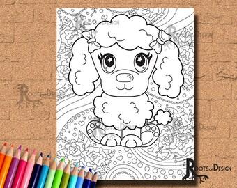 INSTANT DOWNLOAD Cute Poodle Page Print, doodle art, printable