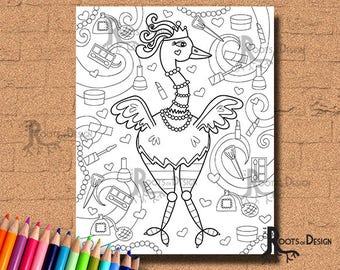 INSTANT DOWNLOAD Coloring Page - Glamorous Ostrich Print, doodle art, printable