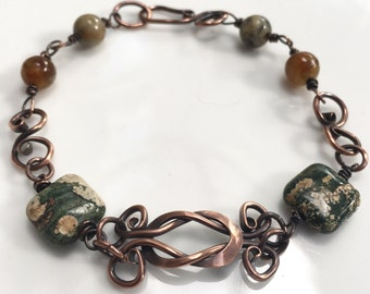 Love Knot Hand Forged Copper and Gemstone Bracelet by JeanineDesigns